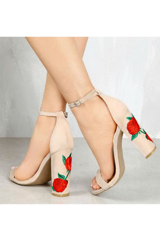 Rose Embroidery High Heels In Beige