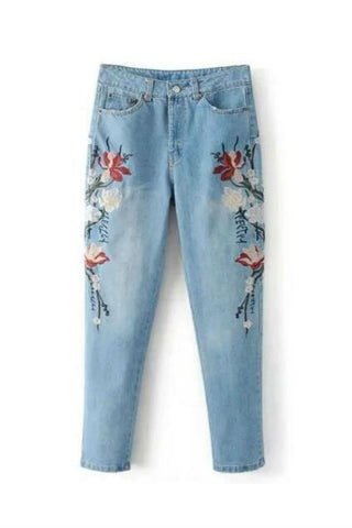 Floral Embroidery High-rise Jeans