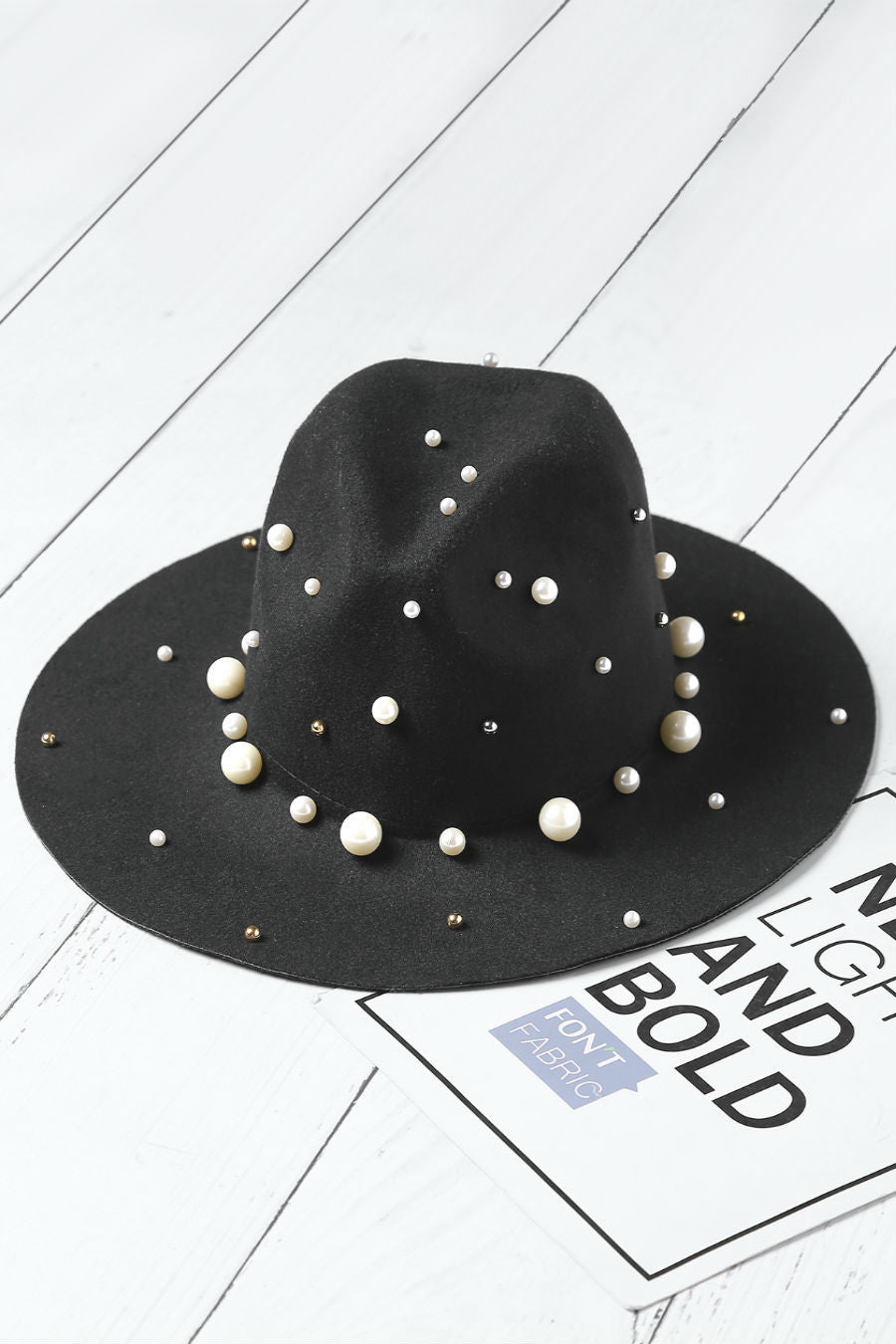 Faux Pearl Fedora Hat