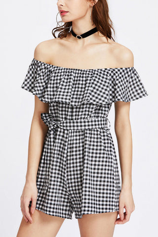 Off The Shoulder Plaid Ruffle Romper