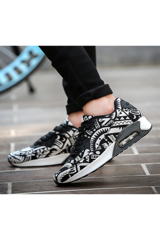 Black White Geometric Casual Lace-Up Sneakers