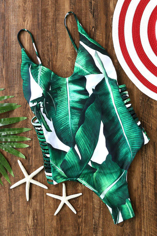 Green Leaf Print Cutout One-Piece Swimwear