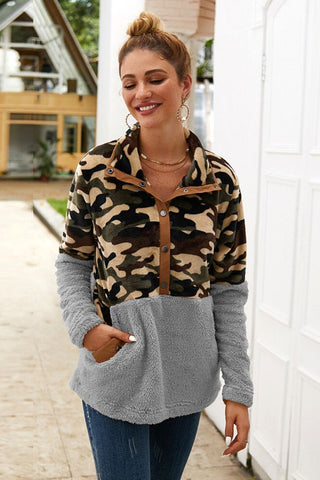 Grey Button Camo Oversize Sherpa Sweater