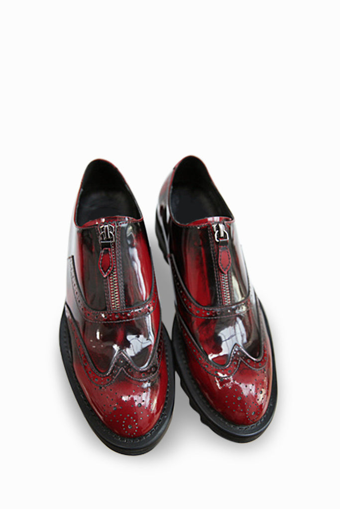 Zip Up Loafers In Duo Toned Burgundy