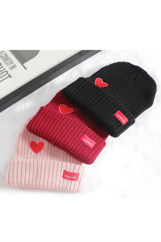 Heart Embroidery Knitted Beanie