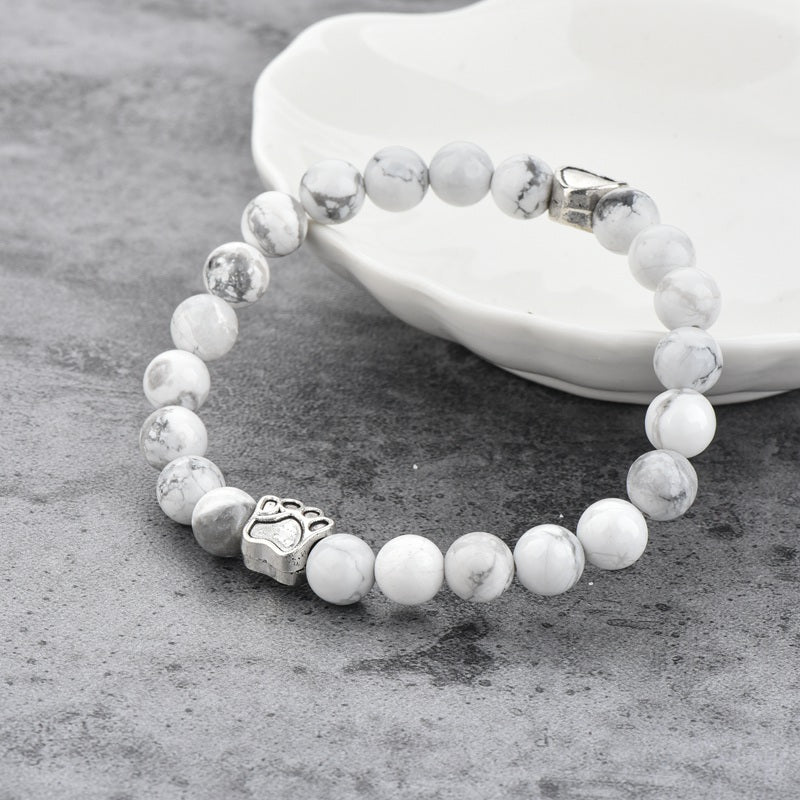 White Onyx paw pet protection charm bracelet