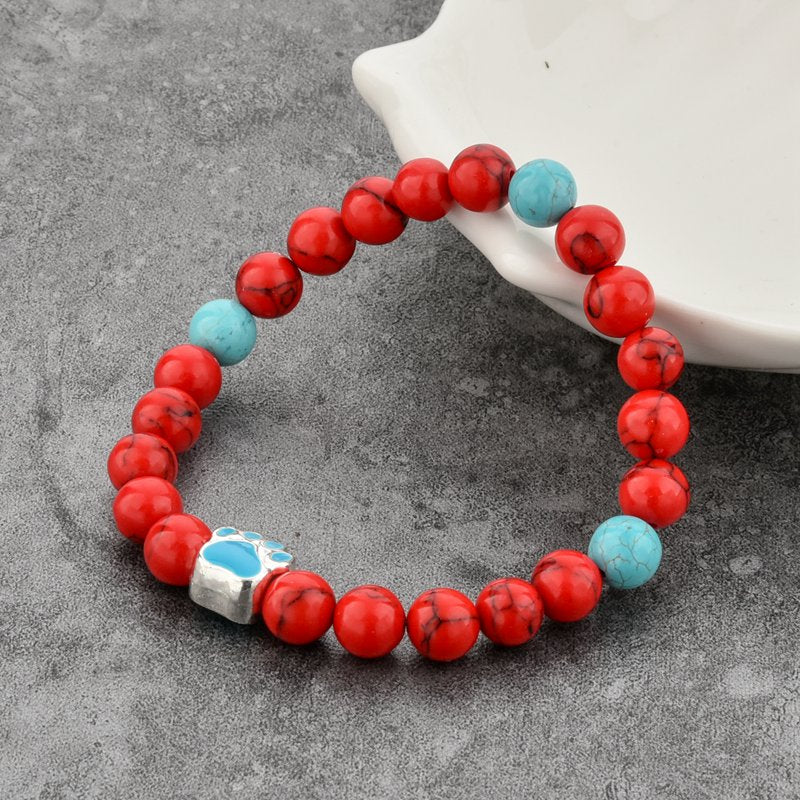 Red Agate Paw Charm Bracelet