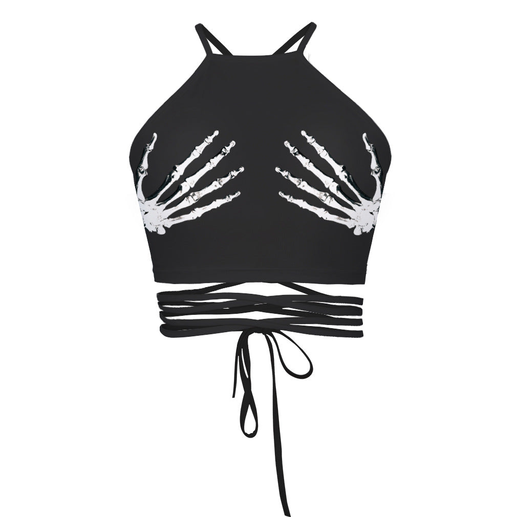 Goth Summer Hands Wrap Halter Top