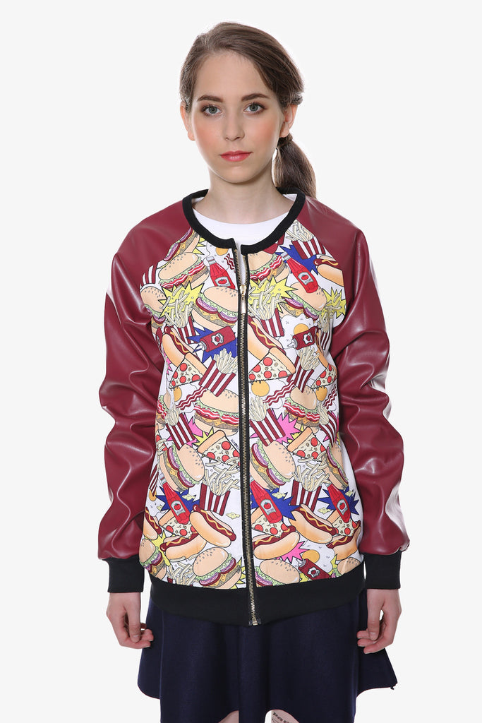 Burgundy Fast Food Print Leather Jacket