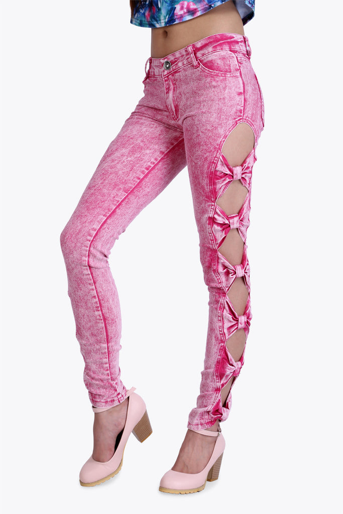 Rouched Cut Out Pink Jeans
