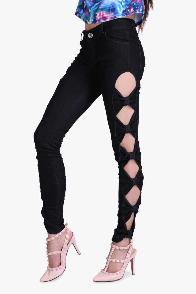 Rouched Cut Out Black Jeans