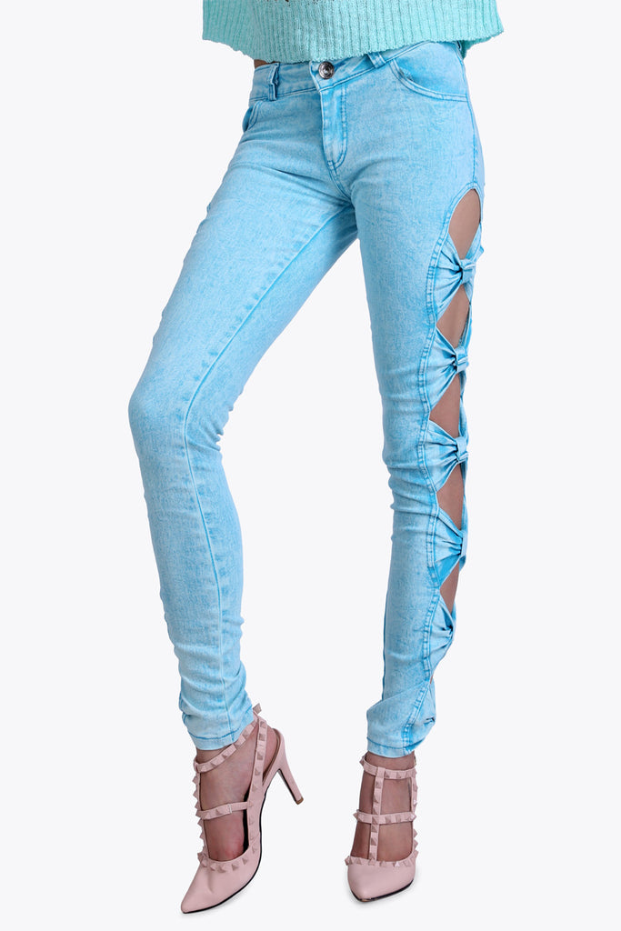 Rouched Cut Out Sky Blue Jeans