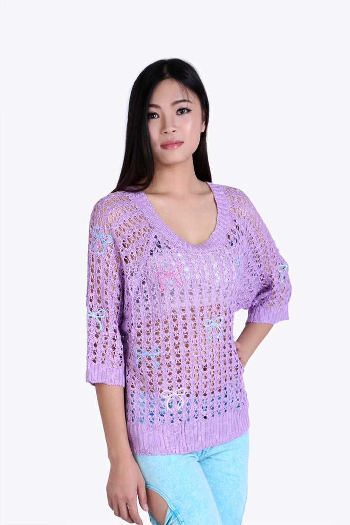Open Weave Lilac Sweater