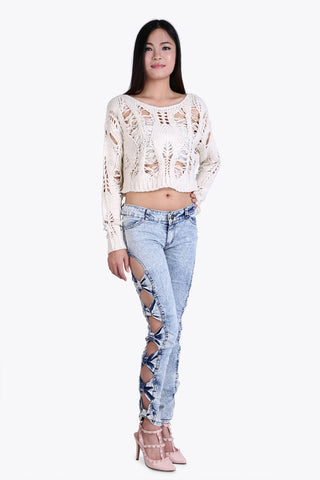 Cut Out Acid Wash Jeans