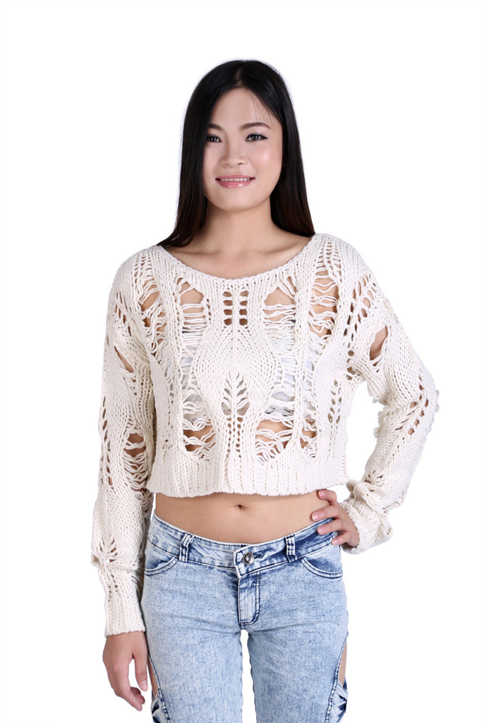 Crochet Long Sleeve Crop Top