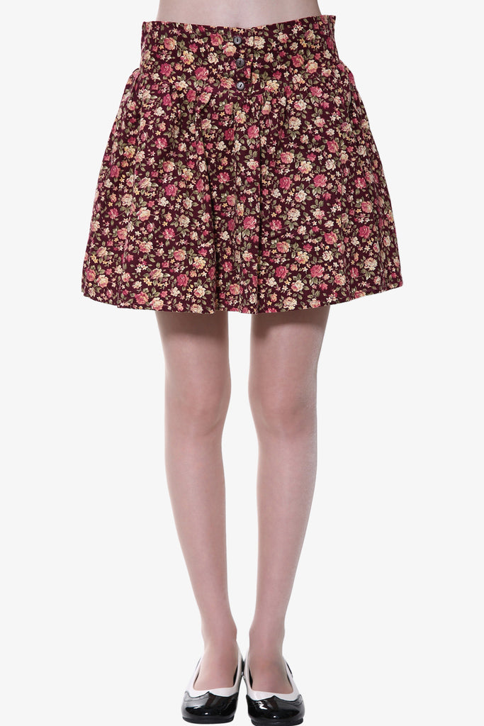 Floral Button Up Skirt In Burgundy