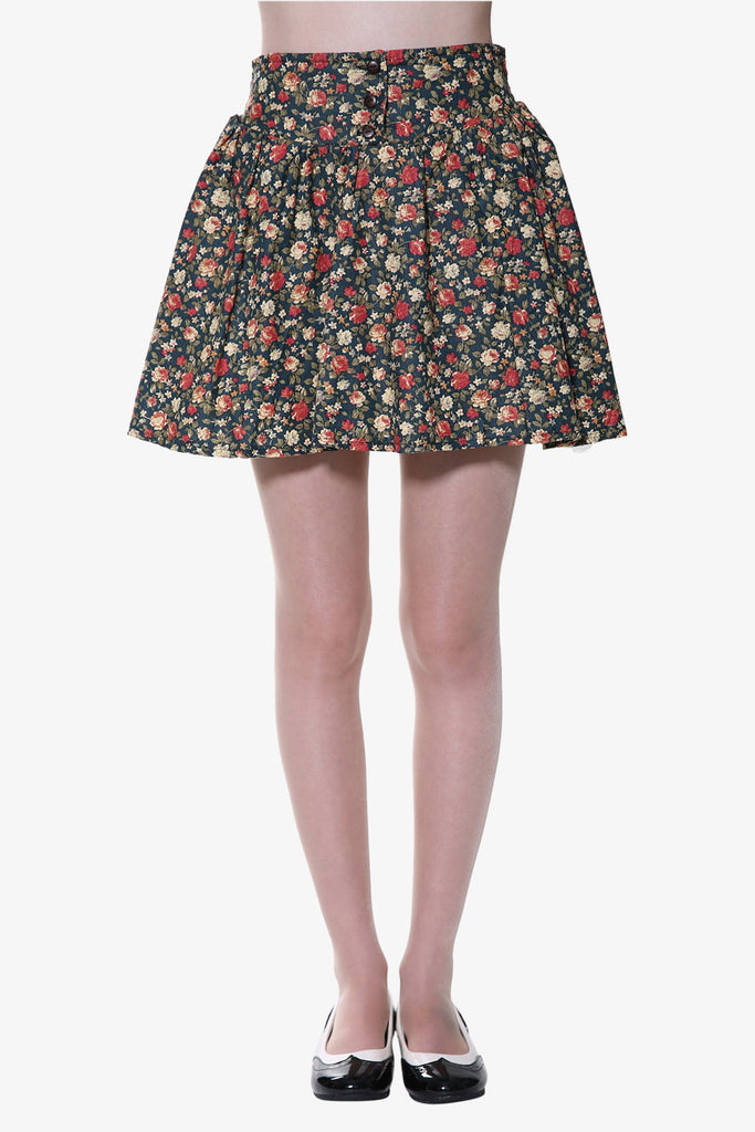 Floral Button Up Skirt In Green