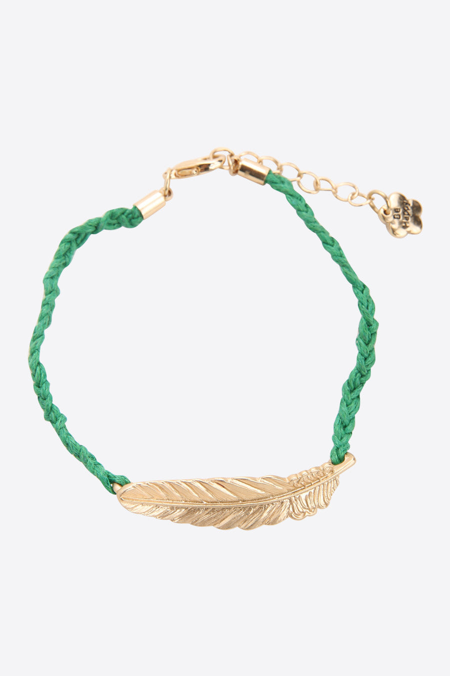 Gold Feather Bracelet In Green