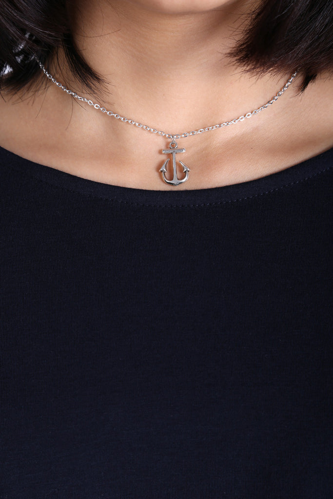 Vintage Anchor Silver Necklace