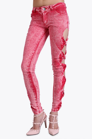 Rouched Cut Out Red Jeans