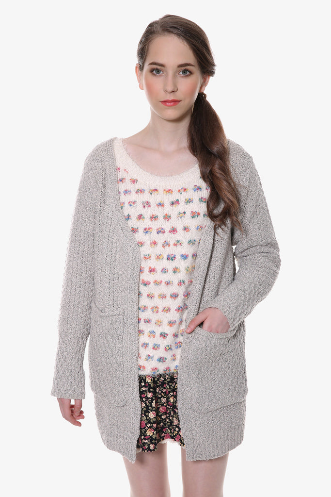 Retro Gray Wool-blend Pockets Cardigan