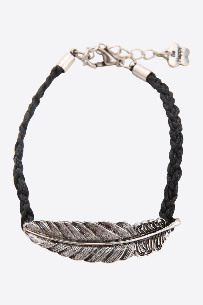 Silver Feather Bracelet In Black