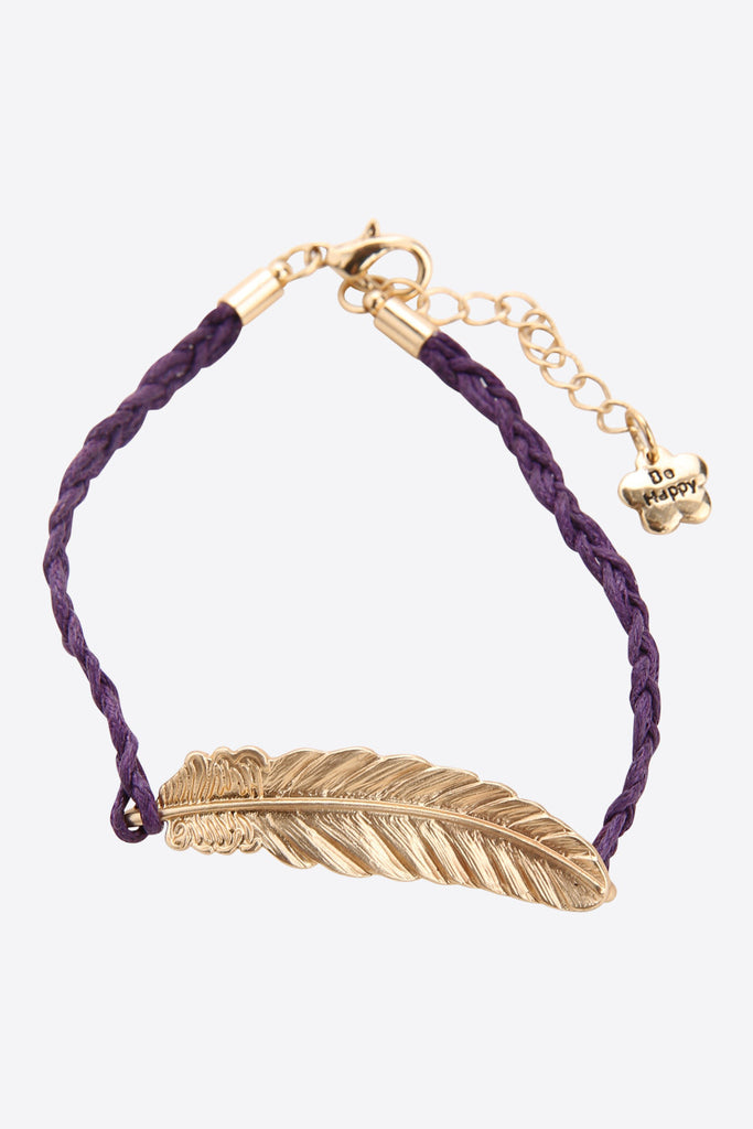 Gold Feather Bracelet In Purple