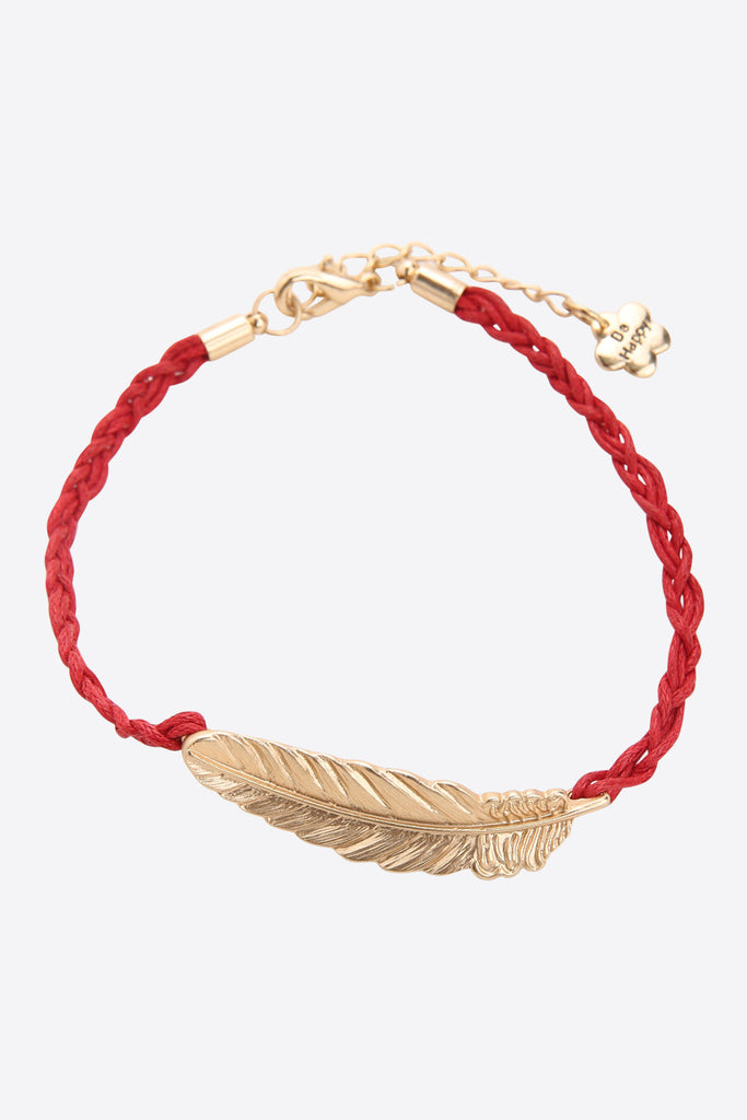 Gold Feather Bracelet In Red