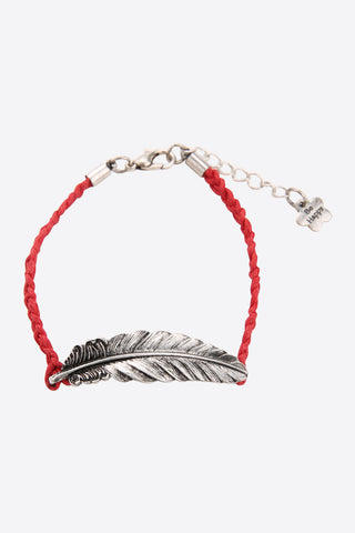 Silver Feather Bracelet In Red