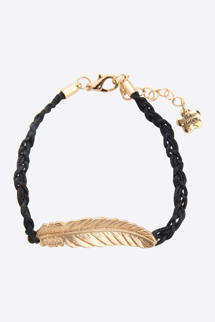 Gold Feather Bracelet In Black