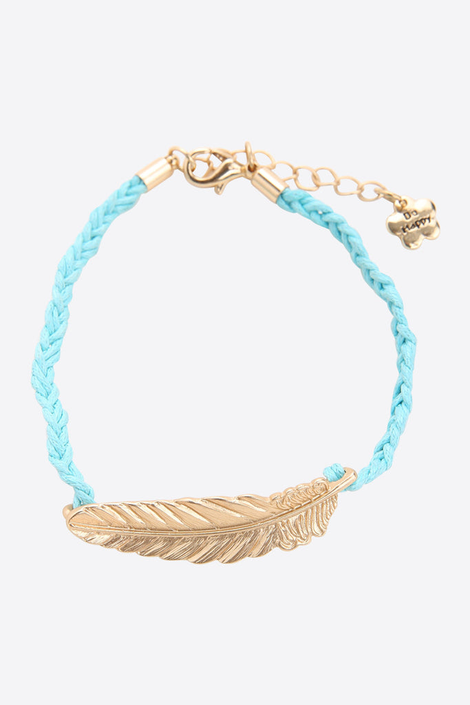 Gold Feather Bracelet In Mint
