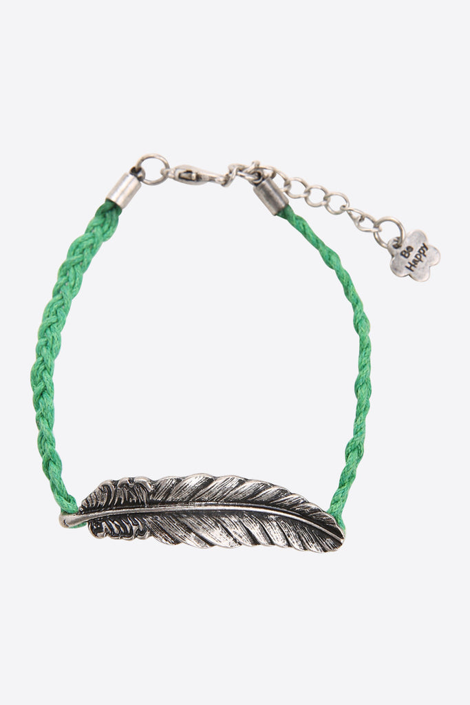 Silver Feather Bracelet In Green