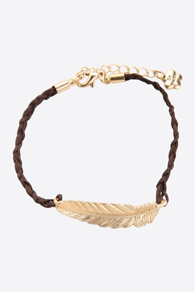 Gold Feather Bracelet In Brown