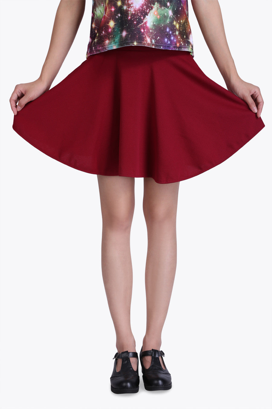Burgundy Retro A-line Skirt