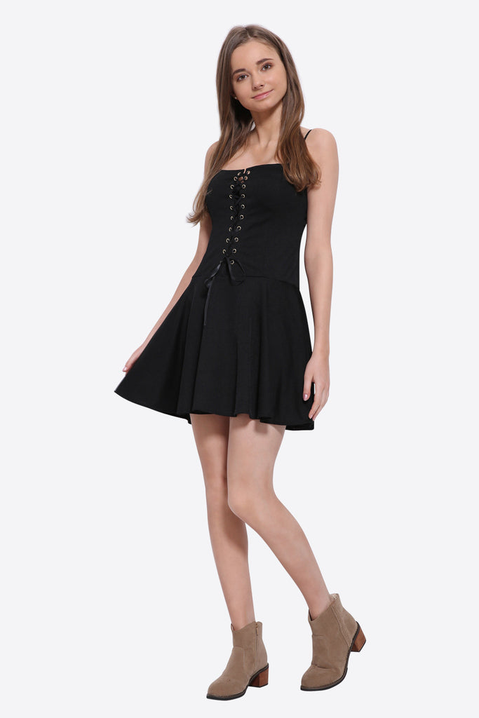 Lace Up Skater Dress In Black