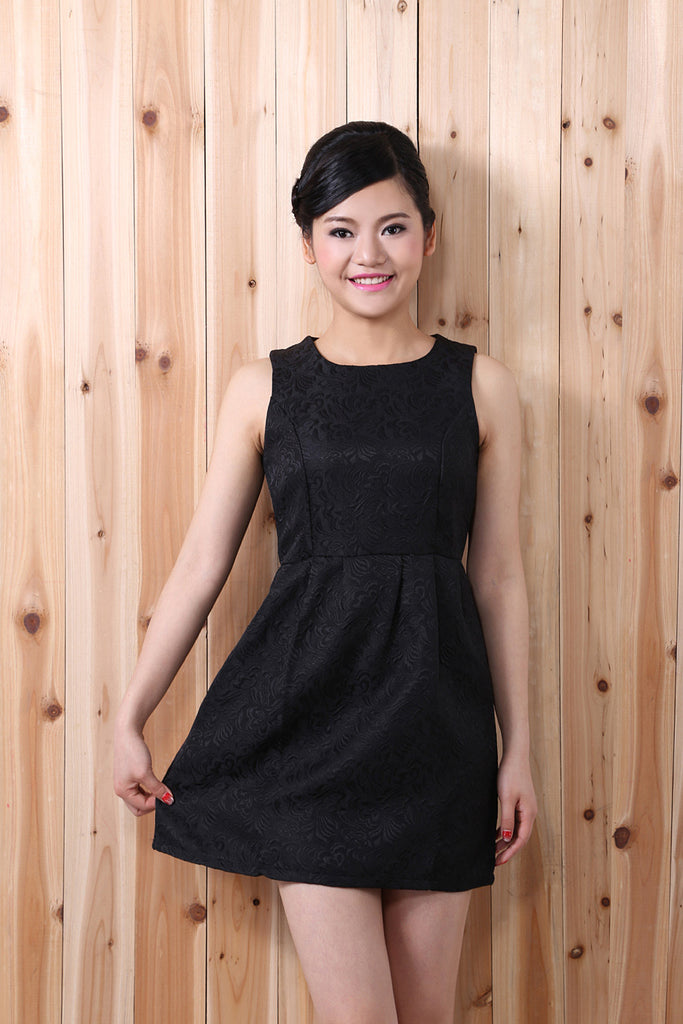 Cute Embroidered Black Party Dress
