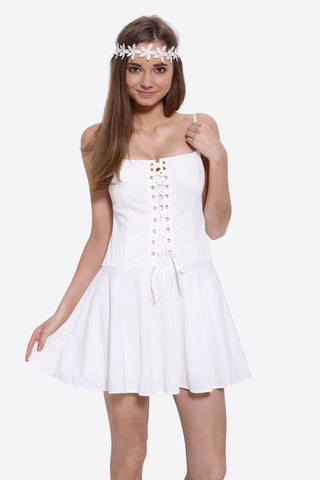 Lace Up Skater Dress In White