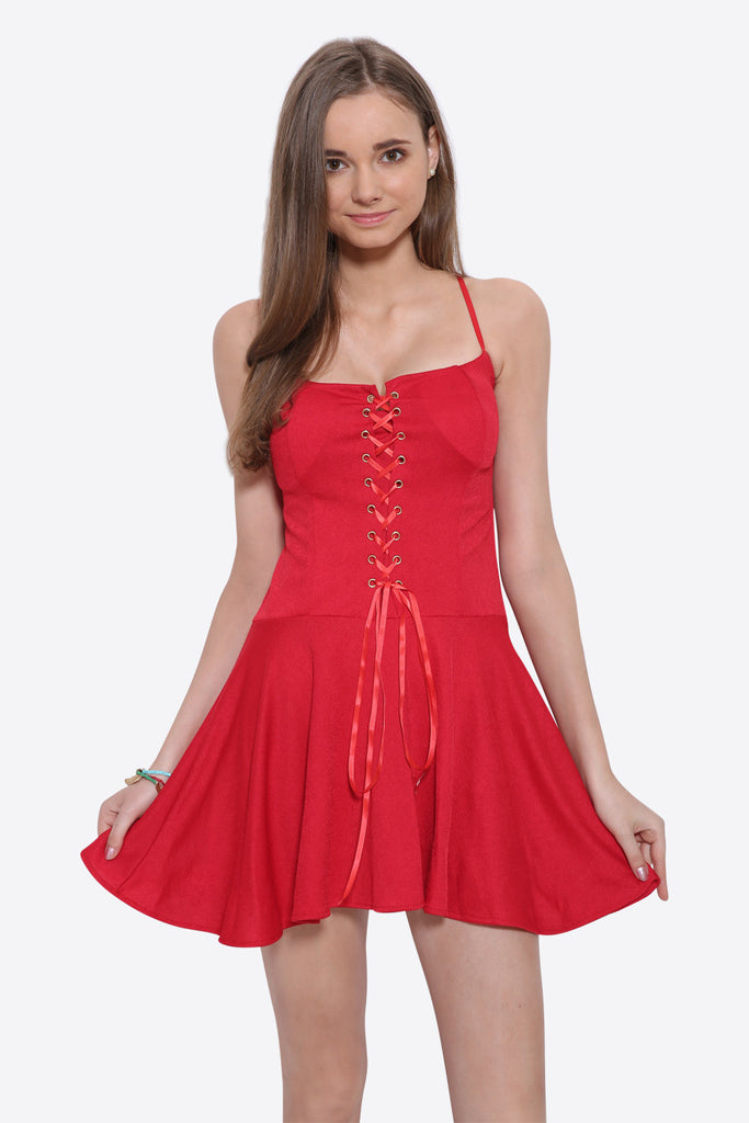 Lace Up Skater Dress In Red