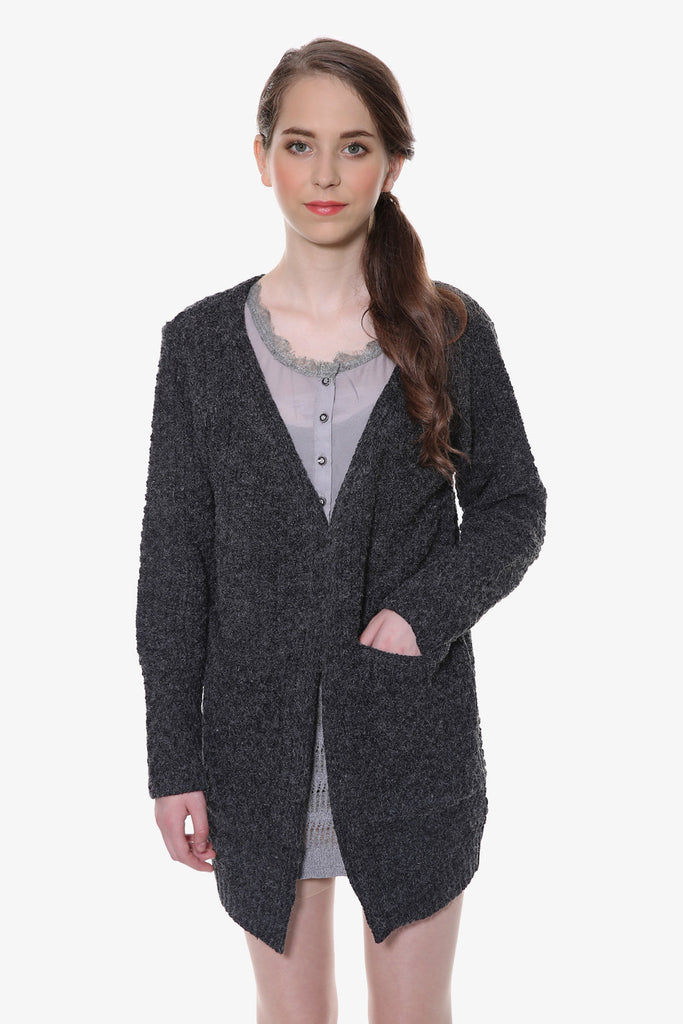 Retro Black Wool-blend Pockets Cardigan