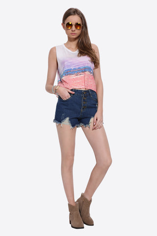 Vintage Beach View Print Tank Top