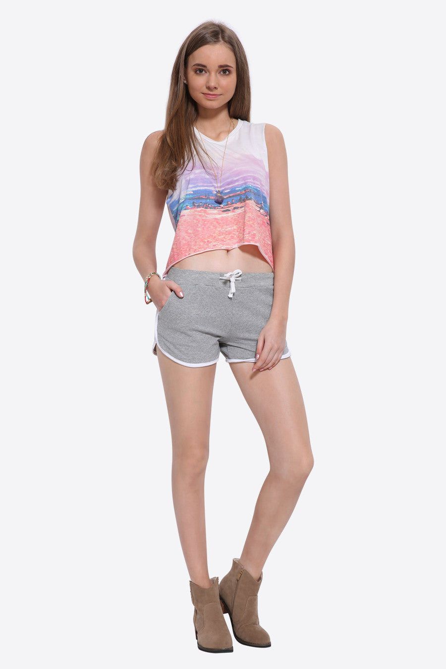 Tie-up Dolphin Shorts In Gray