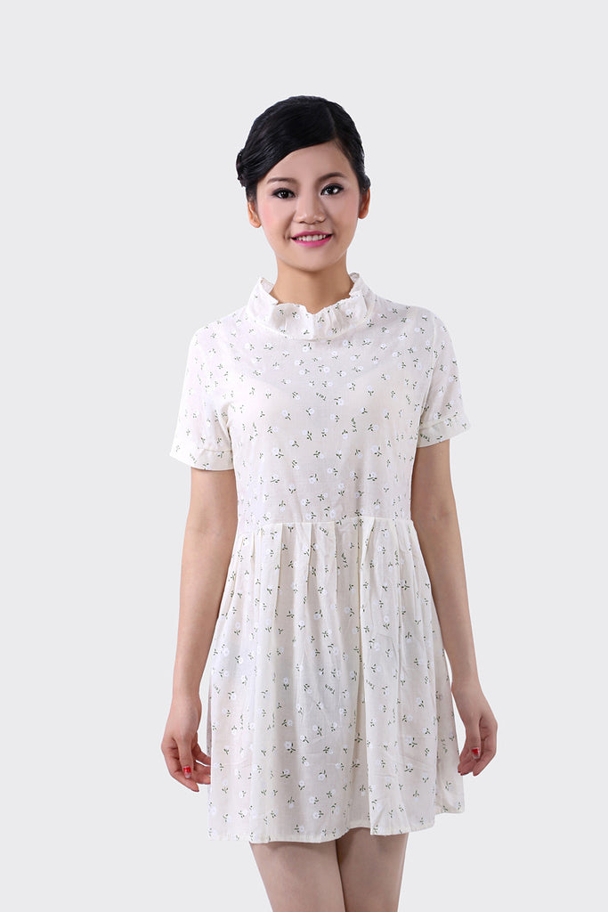 Cute White Retro Floral Dress