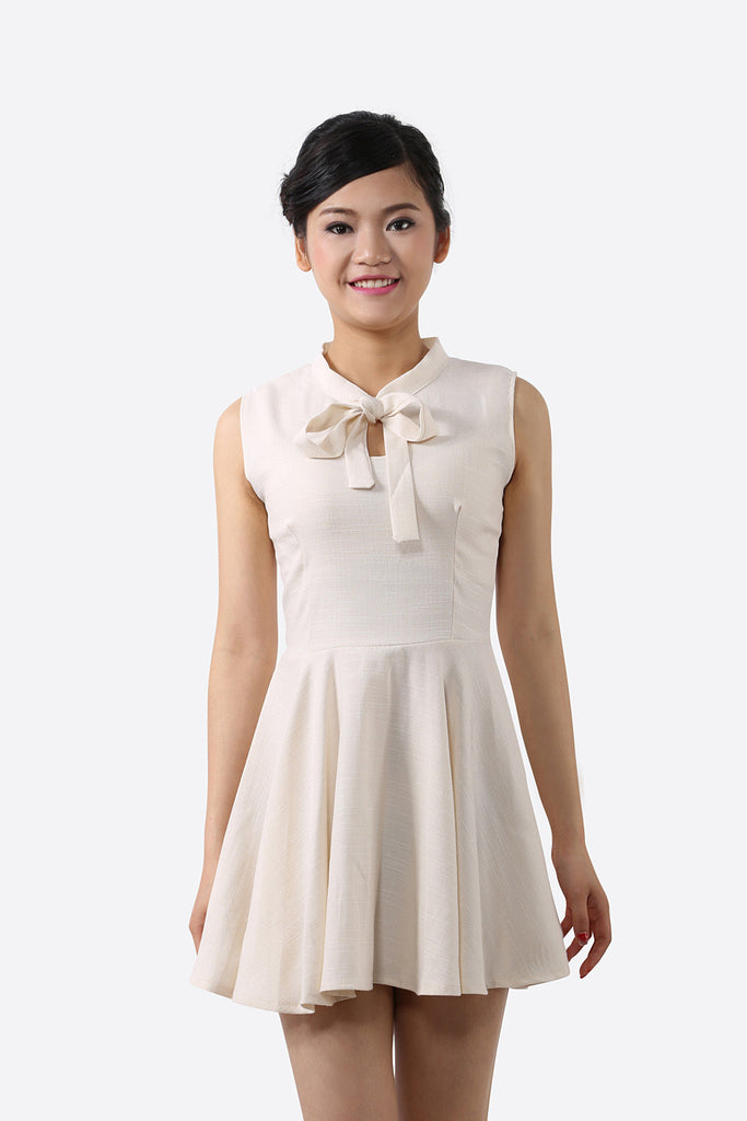 Vintage Cream Bow Dress