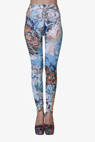 Floral Leggings In Sky Blue