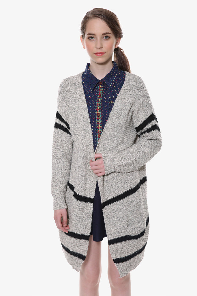 Retro Gray Oversized Stripe Knitted Cardigan
