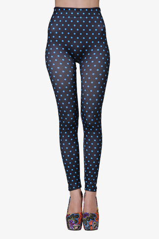 Polka Dots Leggings In Navy