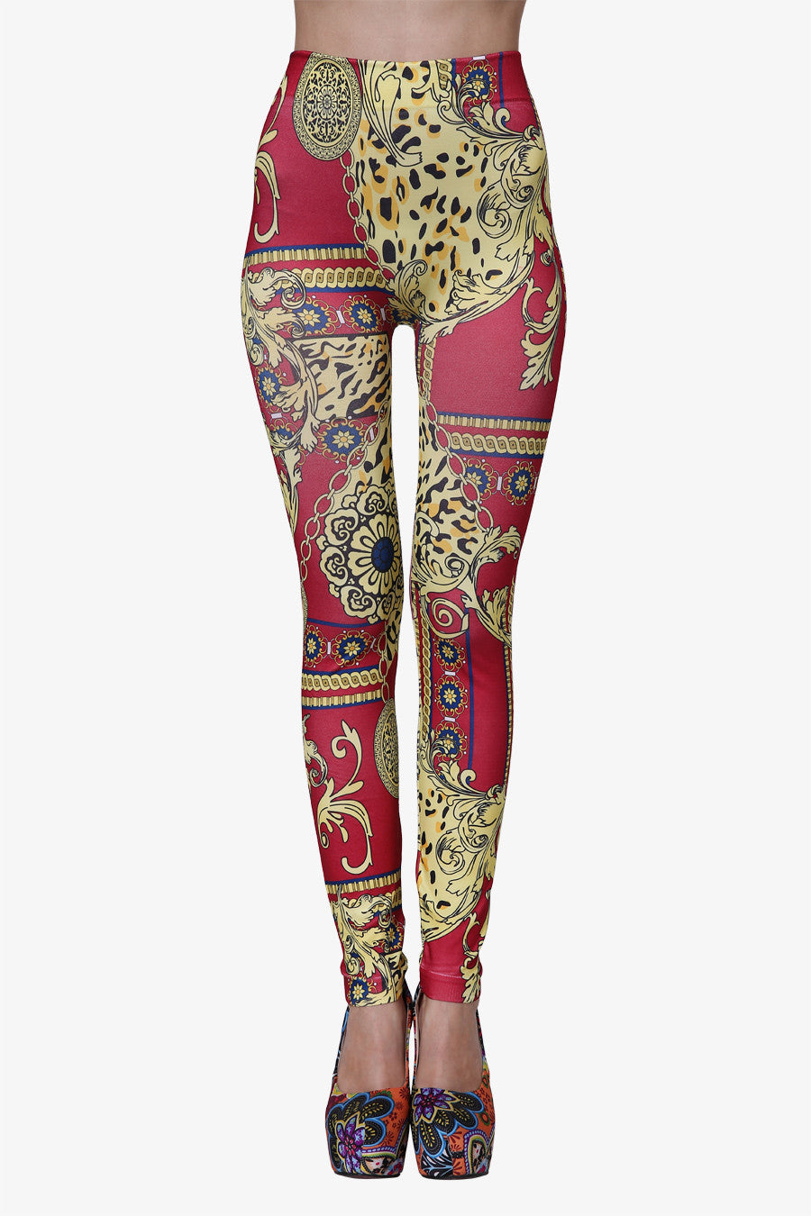 Totem Pole Leggings In Red