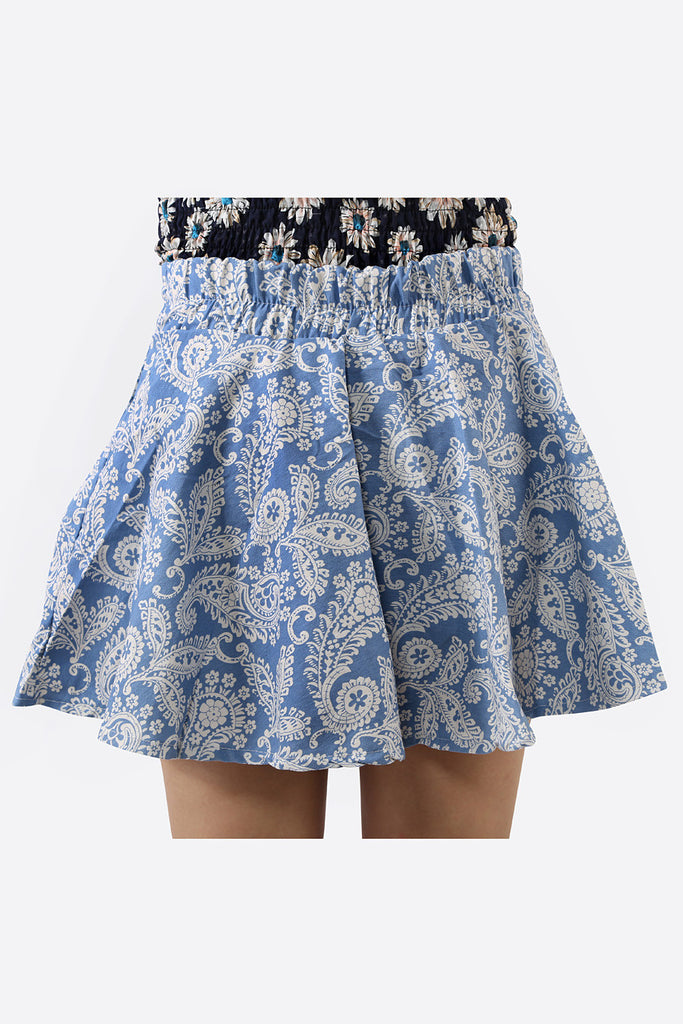 High Waist Skater Denim Floral A-line Skirt