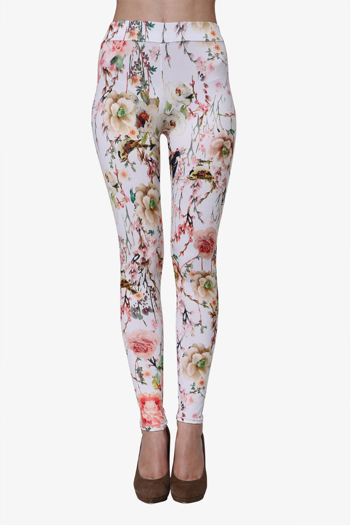 Flowers White Leggings