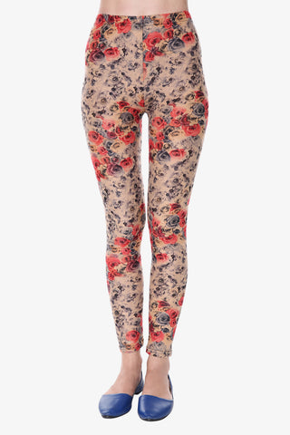 Ditsy Floral Leggings In Tan